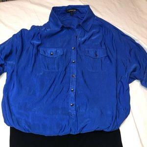 Express blue silk top-cotton spandex skirt dress.